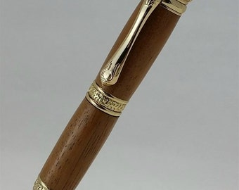 Wooden, Hand Turned, Victorian Pen, Twist style in Mahogony and 24kt Gold