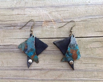Geometric Copper and Leather Earrings