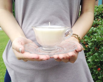 Glass Teacup Candle // Soy Wax // Antique Candle