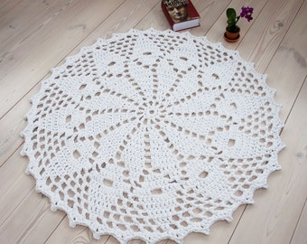 Round white doily rug 45'' / 115 cm - handmade rug - crochet cotton rug - floor rug - carpet - lace rug - home decor - romantic - home decor