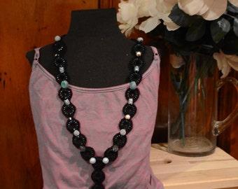 Crochet Chains Necklace - Black