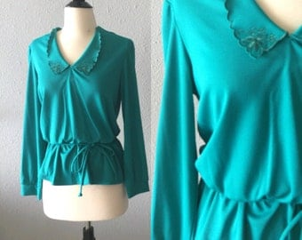 1970's Bohemian Emerald Green Peplum Blouse by Sears Fashions