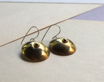 brass boob earrings
