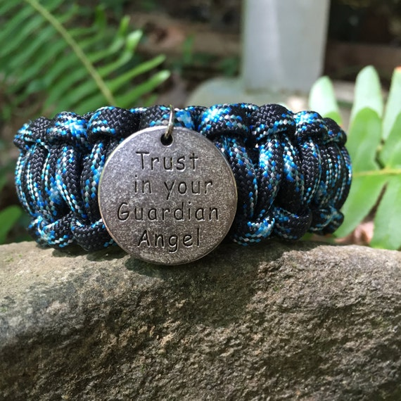"""Inspirational Paracord Bracelet,charm says""""Trust in your Guardian Angel"""" , words with wisdom"""