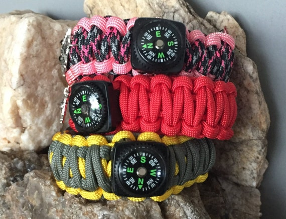 SportingParacord Bracelets, camping,hiking,boating wear, weaved for the outdoor active person, with a compass