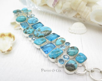 Turquoise and Blue Topaz Sterling Silver Bracelet