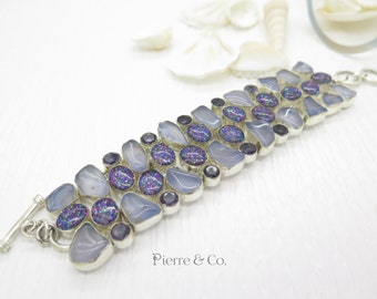 Chalcedony Dichroic Glass and Amethyst Sterling Silver Bracelet