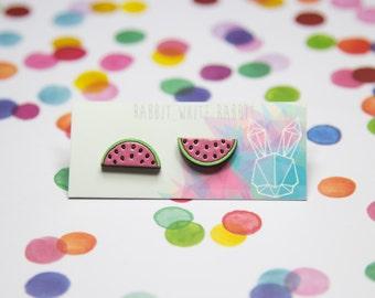 Hand Painted Watermelon Stud Earrings