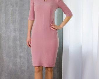 Elegant Gentle-Pink Dress by TAVROVSKA, Fitted Pencil Knee-Length Dress