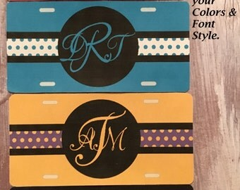 Design your own front decorative monogram car plate