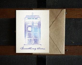 TARDIS Something Blue Printable Wedding Card, Doctor Who Card, Nerdy Card, Wedding Card, Blank Inside, 4.25x5.5, 5x7, PDF
