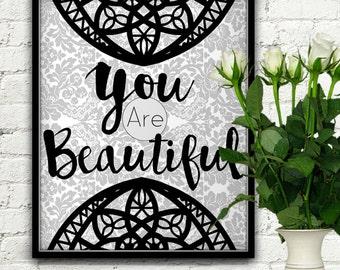 You Are Beautiful, Beautiful Wall Decor, Beautiful Quotes, Beautiful Wall Decal, Beautiful Print, Beautiful Soul, Beautiful Things, Beauty