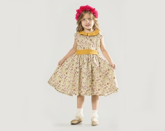 "Girls Fall Dress in Sizes 2 to 11 Years -- The ""Charlotte Dress"" in Primula"