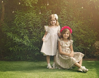 """Girls Pretty Floral Dress in Sizes 2 to 9 Years -- The """"Cottage Garden"""" Dress in Primula"""