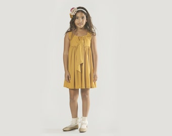 "Girls Yellow Dress for Sizes 2 to 11 Years  - The ""Tie"" Dress in Burnished Gold"