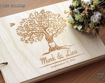 Guest Book Rustic Wedding Guest Book Alternative Personalized  Wedding Guestbook Wood Custom Engraved Guest Book Tree Guest Book
