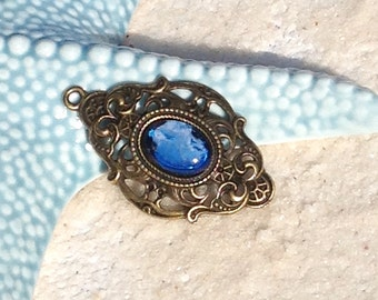 Bohemian bronze pendant/pendant blue cabochon Bohemian boho painted by hand for Choker necklace/pendant