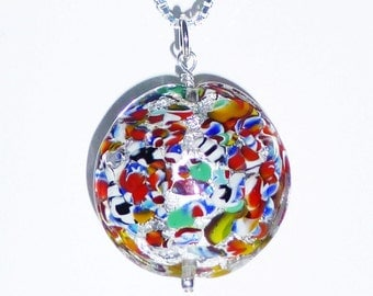 Silver Foil Klimt Venetian Murano Glass Necklace