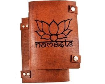 Namaste journal -  namaste notebook - yoga notebook - yoga gift - lotus notebook - leather diary - lotus sketchbook - yoga diary