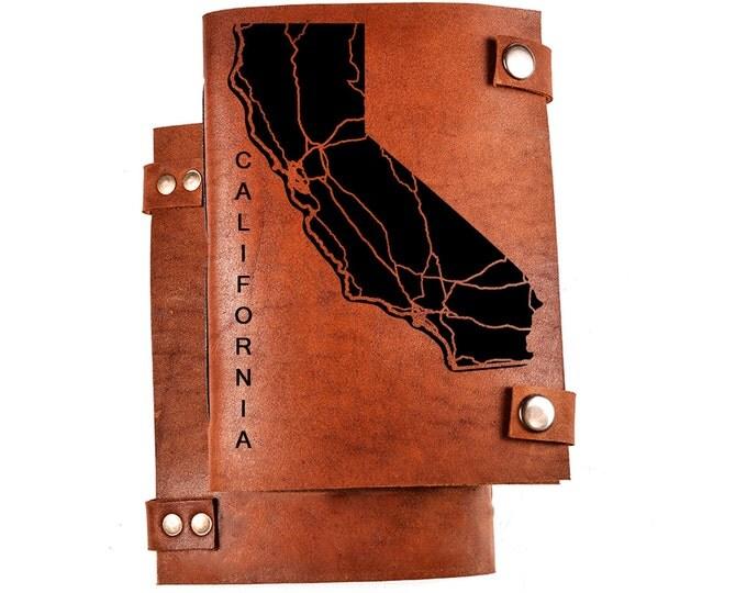 California journal - personalized journal - California notebook - California map - CA sketchbook - leather notebook - CA notebook - CA gift