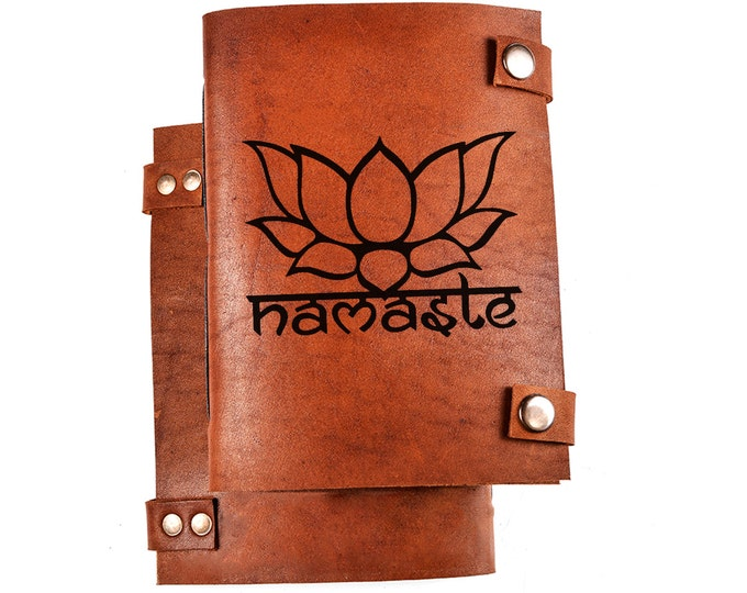 Namaste journal - namaste notebook - yoga notebook - yoga gift - lotus notebook - leather diary - lotus sketchbook - yoga diary