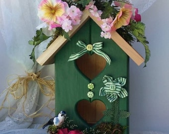 Green Birdhouse ~Handcrafted & Painted  ~ Floral Porch Art ~ Unique Home Decor ~ Bird House for Sale ~ Green Entryway ~ Pretty Green Decor