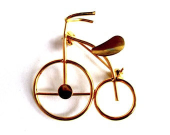 Vintage Gold Tone Wire Brooch Pin Figural Penny Farthing Bicycle Bike Cycle Seventies