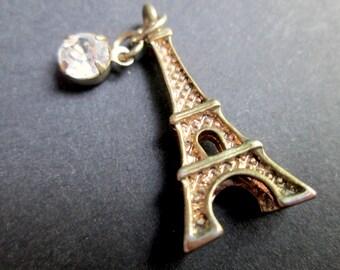 Vintage Figural Eiffel Tower Pendant Charm Brass Gold-Silver Tone Clear Claw Set Rhinestone 3D Tour Paris France Souvenir