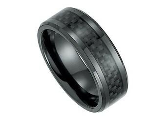Carbon Fiber Black Titanium Mens Wedding Band Bridal Ring
