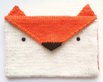 Hand Knitted Fox Envelope Purse