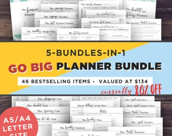 Daily Planner, Printable Planner Pages, Mom Planner Bundle, Filofax A5, A4/Letter, fitness planner, Life Planner, Household Binder