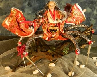 Jorōgumo , dangerous courtship : ooak yurei serie Japanese doll