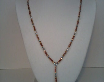Beaded lariat necklace, red/brown multicolor