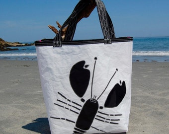 Large Black Lobster Recycled Sail Bag
