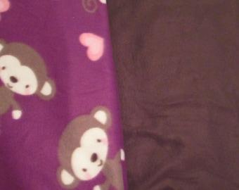 Fleece Tie Blanket-Monkeys and Dark Brown, adult size