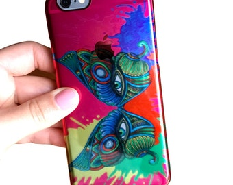 Butterfly Phone Case - iPhone 6/6s Case - Clear Deflector Phone Case - Masquerade Mask - Tribal Art - Drawing - Markers - Watercolor