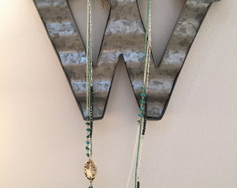 Handmade beaded, long, three layered necklace