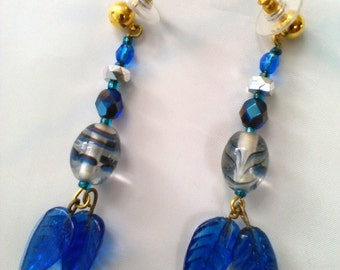 Blue leaf earrings with crystal beads.