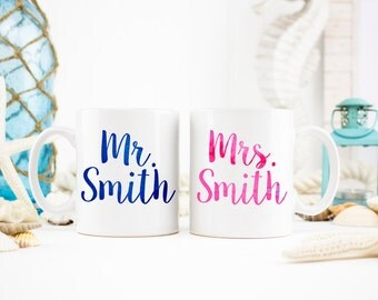 Mr. And Mrs. Mug, Mr. and Mrs. Gift, Engagement Gift, Engagement Mugs, Newlywed Mugs, Newlywed Gifts, Wedding Gift, Wedding Mugs, Engagement