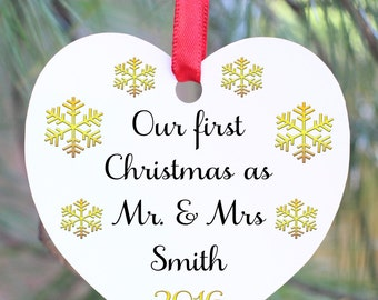 Our First Christmas Ornament, Our First Christmas as Mr. and Mrs., Mr. and Mrs. Ornament, Wedding Ornament, Wedding Gift, Mr. and Mrs. Gift