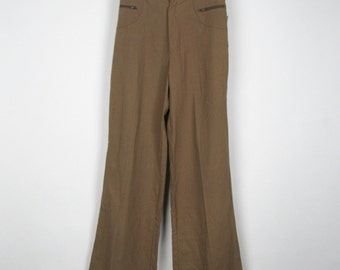 SALE! Vintage Brown Pants / 70s Dead Stock Bell Bottoms Wide Leg Trousers High Waist New / Small S Medium M