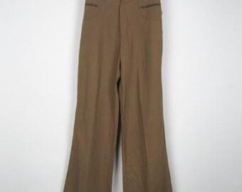 Vintage Brown Pants / 70s Dead Stock Bell Bottoms Wide Leg Trousers High Waist New / Small S Medium M