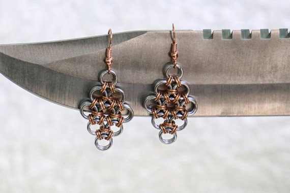 Copper and Stainless Steel - Japanese 12 in 2 - Chainmaille Earrings - Gothic Chain Maille Earrings - Viking Armor Chainmail Earrings
