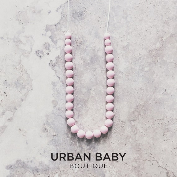 Parker Pastel Pink Silicone Bead Teething Necklace - Pink Necklace, Chewable Necklaces, Hexagon Teething Necklaces, BPA Free Jewellery