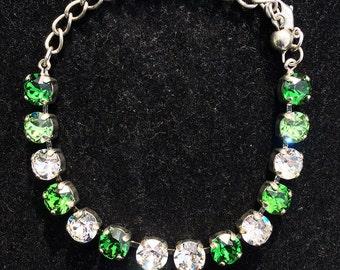 Swarovski Crystal Bracelet, Emerald Crystal Bracelet, Green and White Bracelet, Green Bracelet, Bracelet, Chunky Bracelet, Crystal Bracelet
