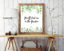 Find Me In the Garden Floral Wall Art, Watercolor Print, Instant dowload Poster, 5 Sizes, Wild Flowers, Grass, 50x70cm