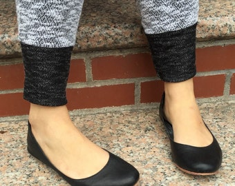 Alex Black Leather Ballet Flats