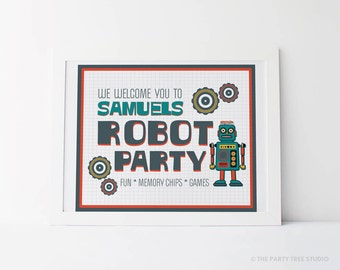 Robot Fuel Party Welcome Sign Printable