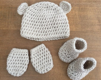 Soft Handmade Crochet Bear Baby Hat, Scratch Mitts and Booties Set