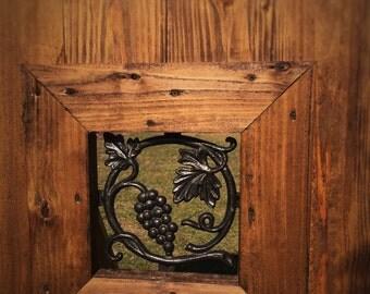 Wood Gate Door, Cast Iron Grape Vine Window Insert